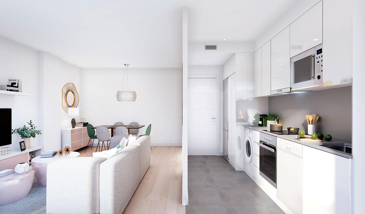obra-nueva-celere-els-ametllers-vista- salon-y-cocina