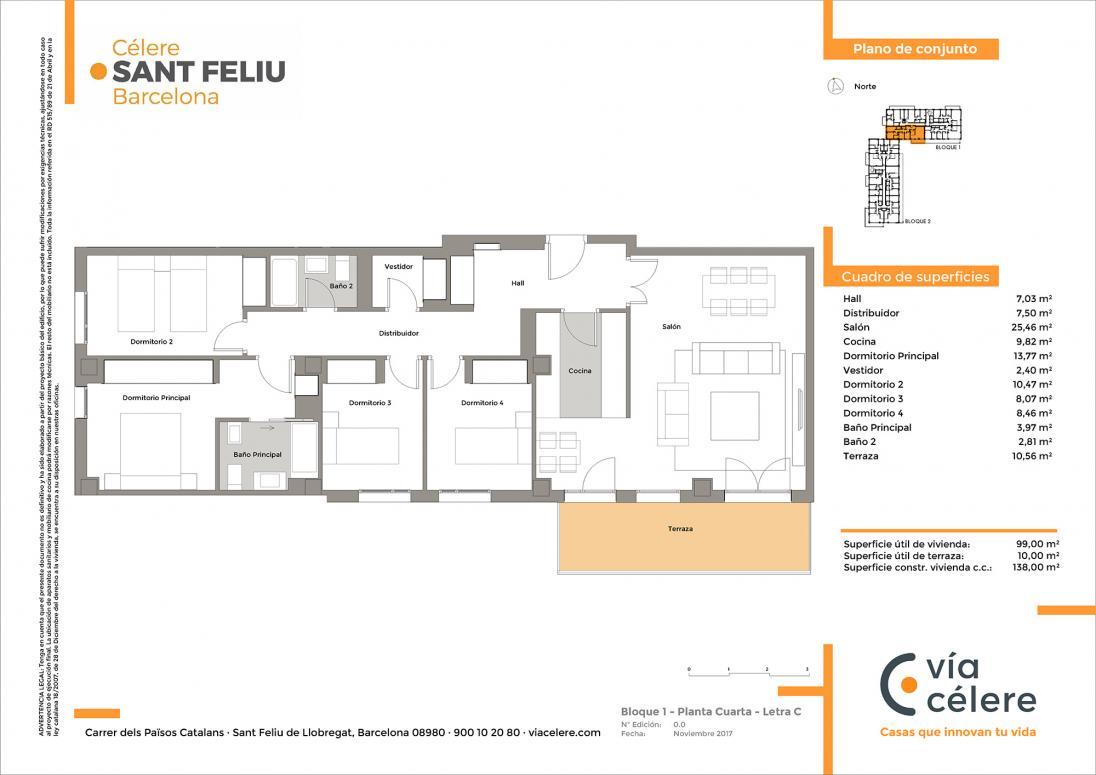 Plano obra nueva Célere Sant Feliu bloque 1