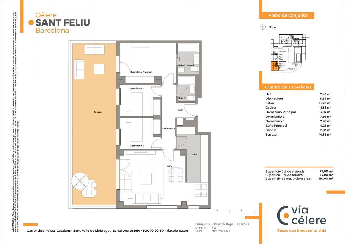 Plano obra nueva Célere Sant Feliu bloque 2